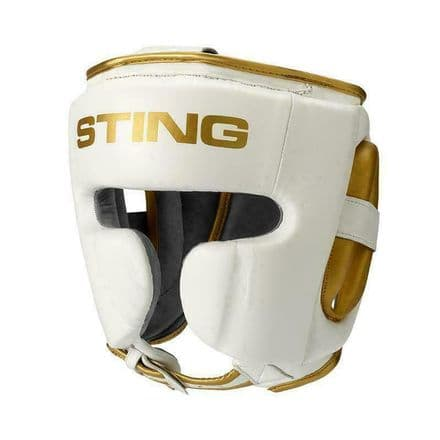 Sting Boxing Head Guard Viper Gel Full Face White Gold Leather