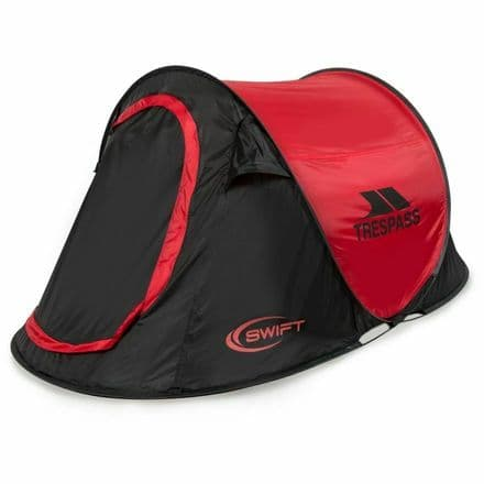 Trespass Tent Swift Pop Up Black Red Camping Hiking Festival