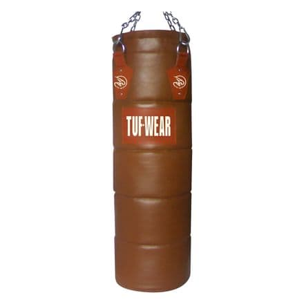 Tuf Wear Boxing Classic Brown Quilted Leather Punch Bag 122cm (4FT)
