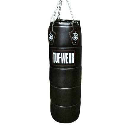 Tuf Wear Boxing Punch Bag PU Quilted Punchbag 4FT Black