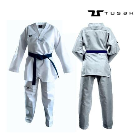 Tusah Kids World Taekwondo Fighter Uniform White Collar -  TAEKWONDO GI SUIT DO