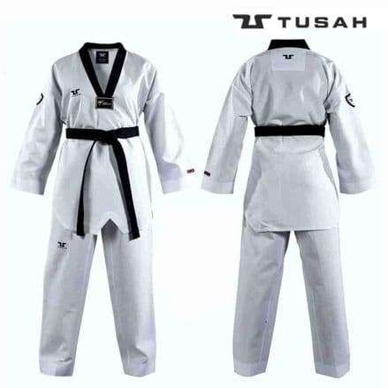 Tusah Kids World Taekwondo Professional Black Collar Fighter Uniform - TAEKWONDO