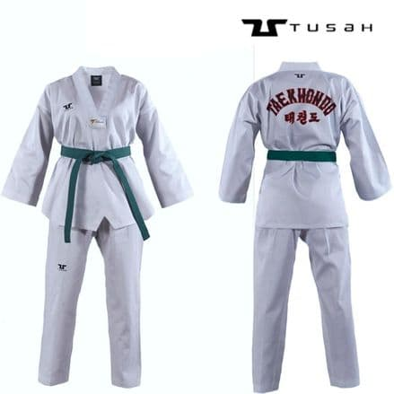 Tusah Kids World Taekwondo White V Neck Embroidered Uniform - TAEKWONDO GI SUIT