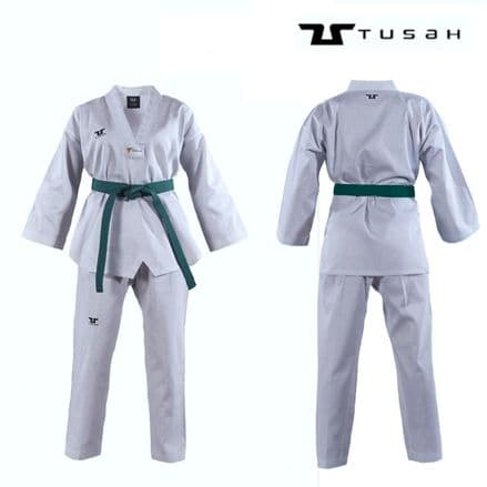 Tusah Kids World Taekwondo White V Neck Uniform - TAEKWONDO GI SUIT