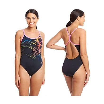 Zoggs Ladies Aqualast Flame Sprintback Swimming Swimsuit