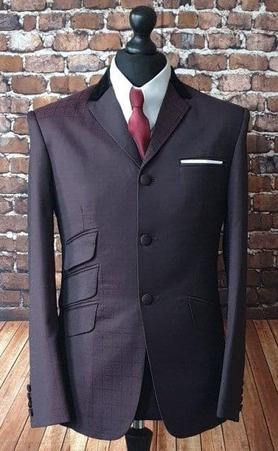 """Hathaway"" Deep Wine & Black Check 3 Button Suit"