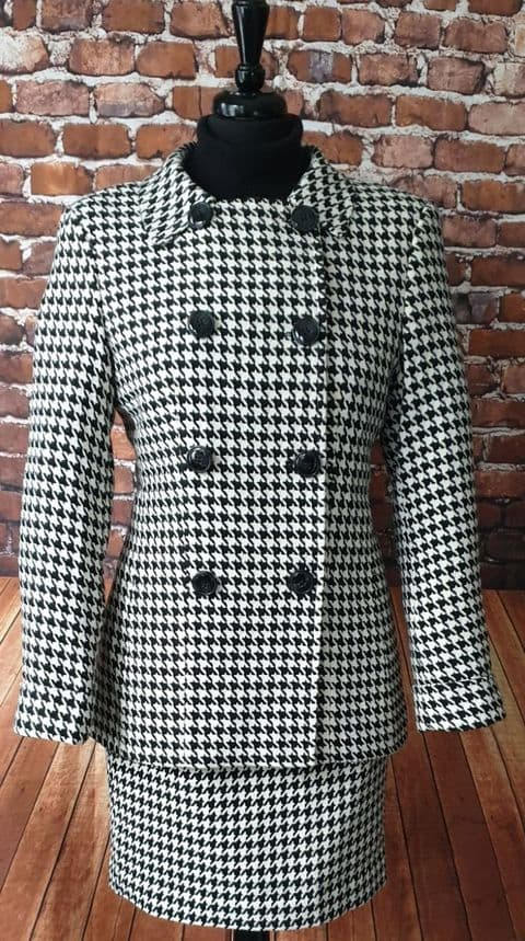 """Katrina"" Black & Ivory Dogtooth Double Breasted Suit"