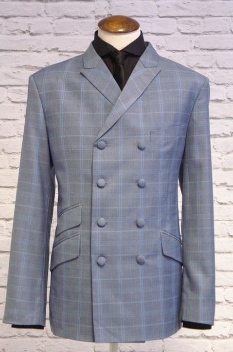 """Lewis"" Sky Blue Check Double Breasted Jacket"
