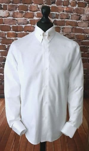 """Ruben"" Pin Collar 100% White Cotton Shirt"