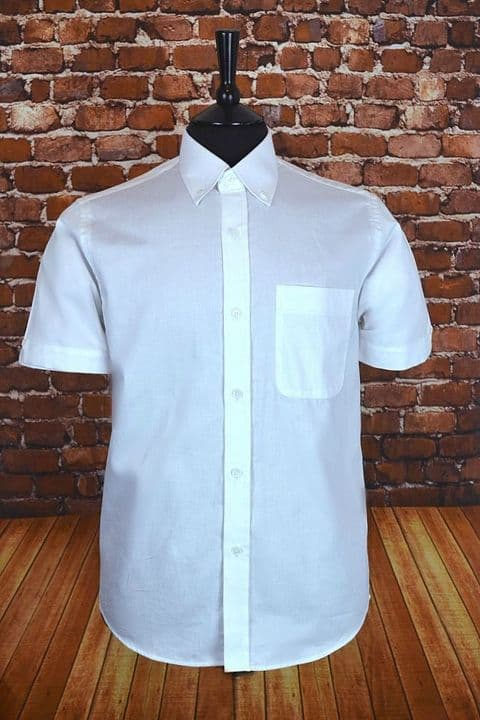 """Shaw"" Classic Short Sleeved Button Down  White Shirt"