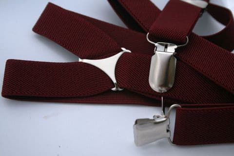 Burgundy Braces Slim With Clips