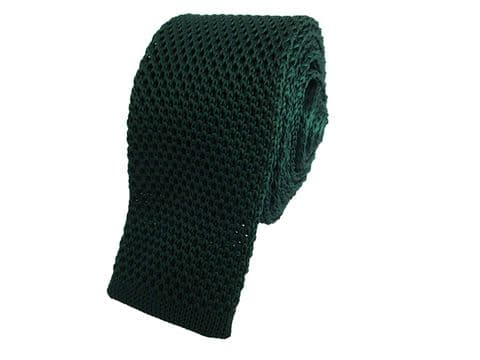 Green Skinny Knitted Tie Narrow Slim Woven