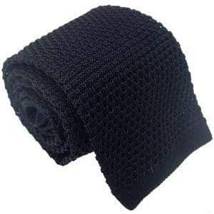 Navy Knitted Tie Narrow Slim Woven