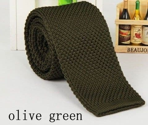 Olive Green Knitted Tie Narrow Slim Woven