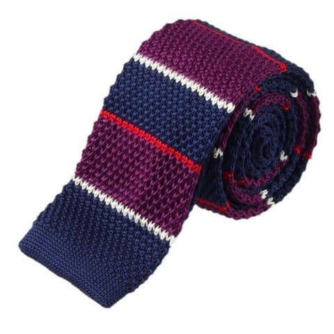 Purple & Blue Multi Check Striped Knitted Tie