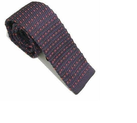 Purple With Pink Flick Knitted Tie Narrow