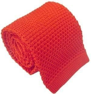 Red Knitted Tie Narrow Slim Woven