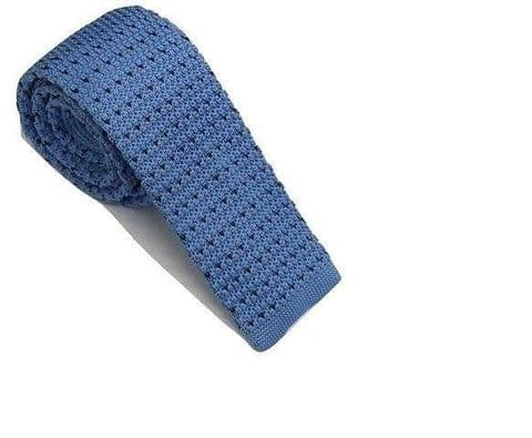 Sky Blue With Black Flick Knitted Tie Narrow
