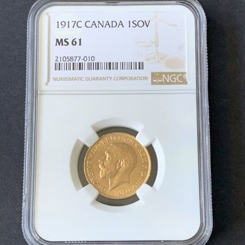 1917 Gold Sovereign Minted in Ottawa  Canada MS 61 RARE