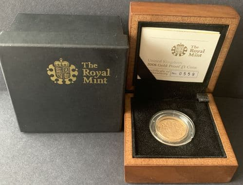 2008 Gold Proof £1 Coin Shield Of The Royal Arms