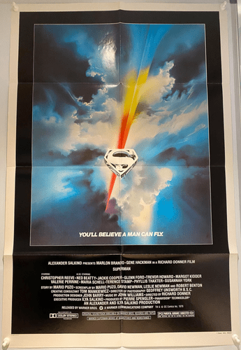 "Superman Original US One Sheet Film Poster (1978) 27x41"" Bob Peak Logo Art"