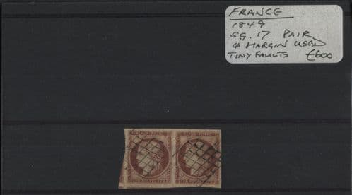 France 1849 SG.17 Pair, 4 Margins, used with tiny faults