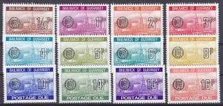 Guernsey Postage Due sets of ½p - 15p and ½p - 16p and 1p - £1 (33 stamps) (Ref ES103)