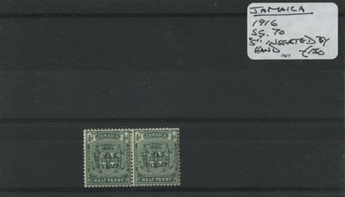 Jamaica 1916 SG.70 'S' inseted by hand M/M