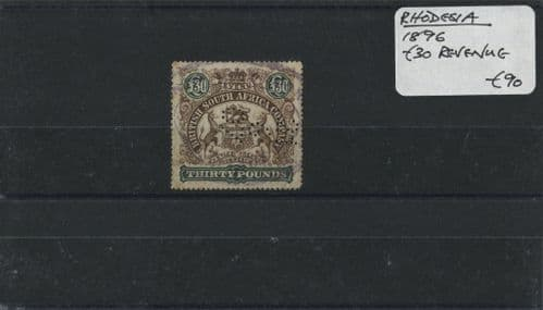 Rhodesia 1896 £30 Revenue