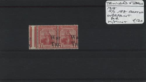 Trinidad & Tobago 1918 SG.188 OPT. shift pair M/M