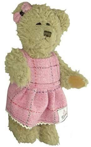 Authentic Harris Tweed 25cm Girl Teddy Bear Bright Pink With Overcheck