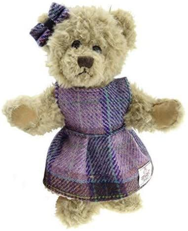 Authentic Harris Tweed 25cm Girl Teddy Bear Pink & Lilac Check