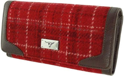 Ladies Authentic Harris Tweed Red Check Long Purse