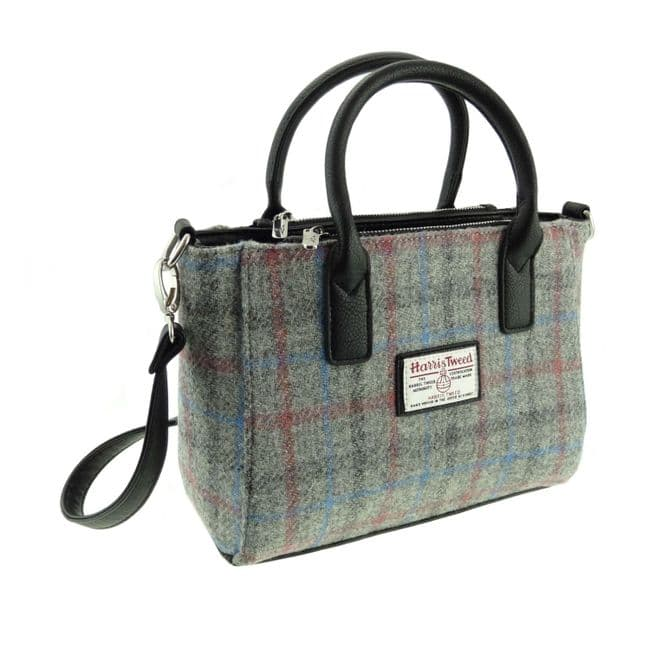 Ladies Authentic Harris Tweed Small Tote Bag Light Grey Check