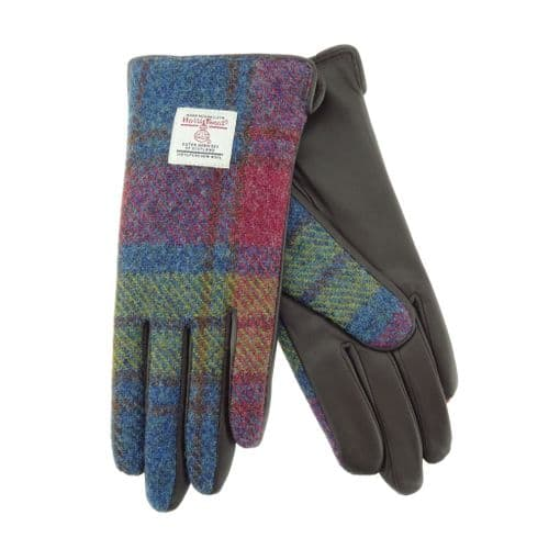 Ladies Brown Leather & Authentic Harris Tweed Gloves Multi Colour Check
