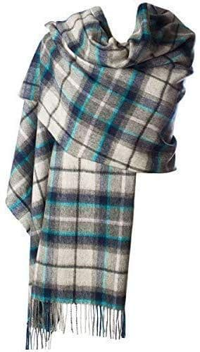 Ladies Pure Lambswool Dover/Grey Check Tartan Stole