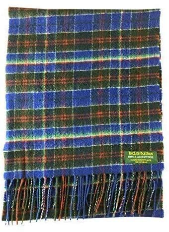 Pure Lambswool Blue Multi Check Scarf By Ingles Buchan of Scotland