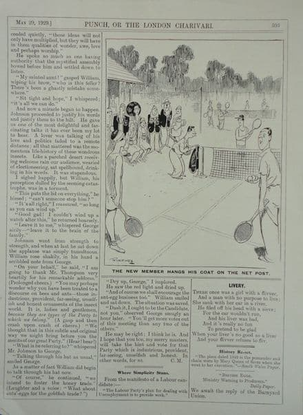 """""""The New Member"""" WL Ridgewell (Punch 1929 May 29th)"""