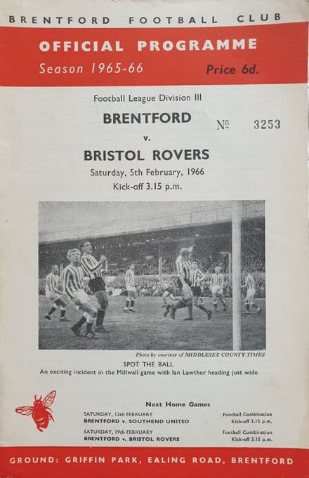Brentford v Bristol Rovers, Div 3 (1966, Feb 5th)