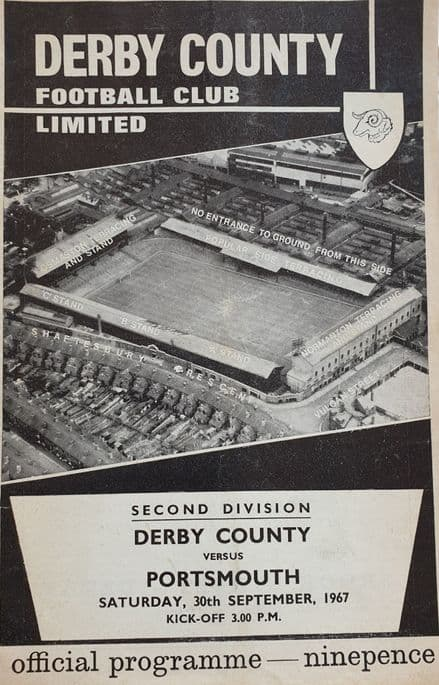 Derby County v Portsmouth, Div 2 (1967, Sept 30th)