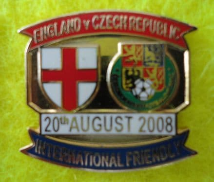 England v Czech Republic (2008, Aug) Enamel Pin Badge