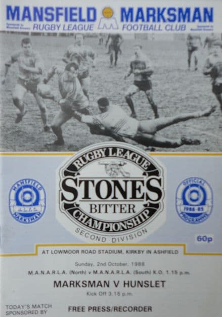 Mansfield Marksman v Hunslet (1988, October 2nd)
