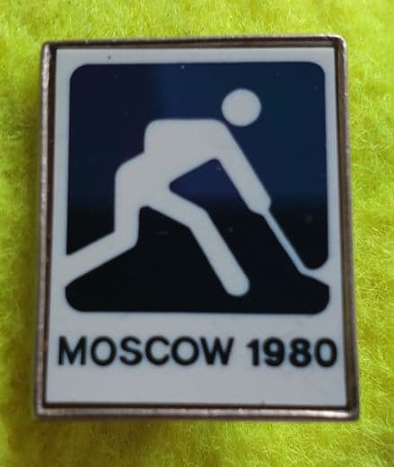 Moscow Olympics Hockey Pin Badge