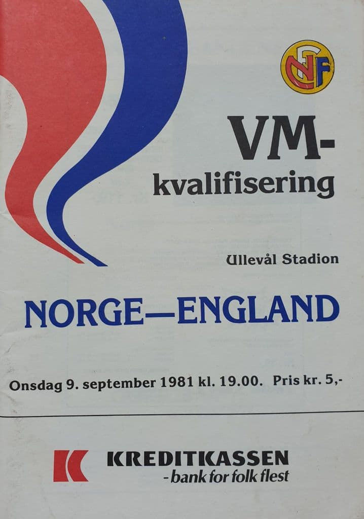 Norway v England, WC Qualifier (1981, Sept 9th)
