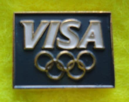 Visa Olympics Blue Enamel Pin Badge