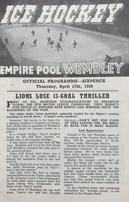 Wembley Lions v Haringay Racers (1958 Apr 17)