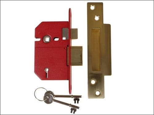 Union 2100s - 81mm Polished Brass 5 lever strongbolt mortice deadlock