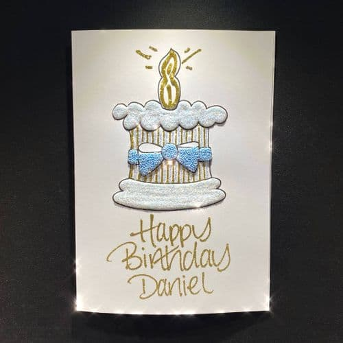 Birthday Cake with Blue Bow