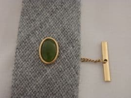 'Jade' Green Stone Tie Tack - Vintage Circa 1970s - Gold Plated Gem Set Tie Pin (Sold)