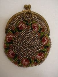 19 th Century Hand Beaded Chatelaine Purse - Pink Floral Decoration(SOLD)